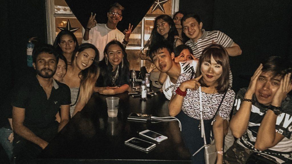 friends at pub in clarke quay singapore