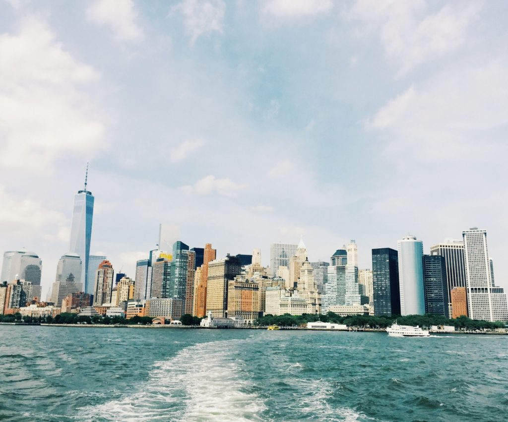 view of nyc skyline from boat