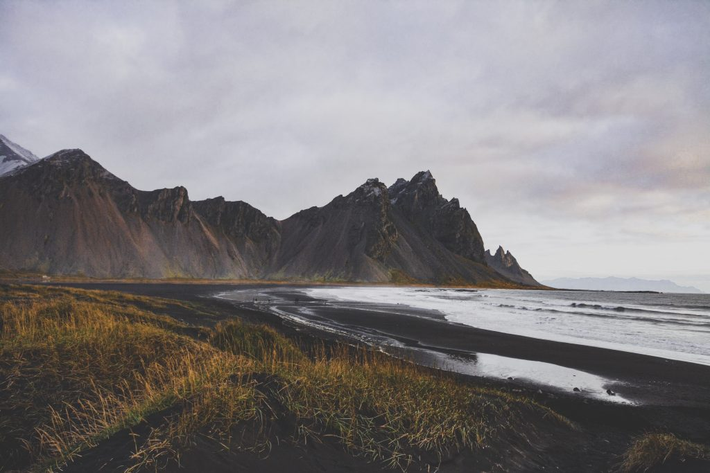 Iceland mountain and sea