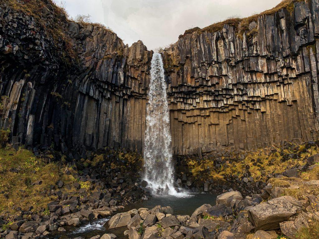 famous waterfall over basalt columns